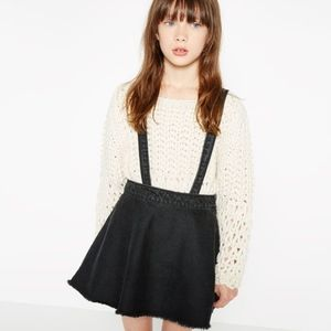 Zara girls black denim skirt with suspenders